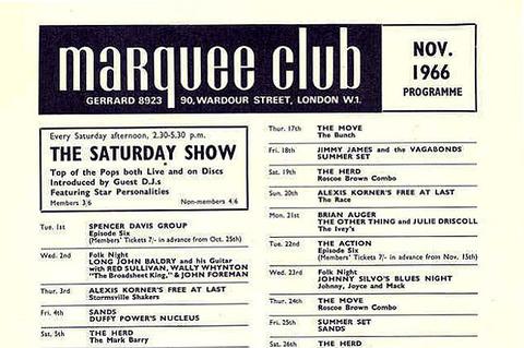 Marquee Club Programme Nov 1966