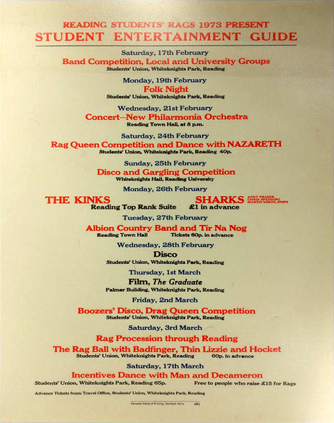 Reading Students' Rags 1973 present Student Entertainment Guide