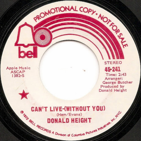 Donald Height - Can't Live-(Without You) (1972) promo