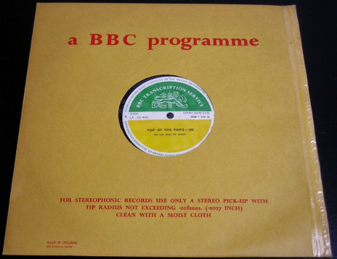 BBC 322 Transcription Disc Top of the Pops a