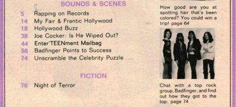 Teen Magazine (August 1972) a badfinger