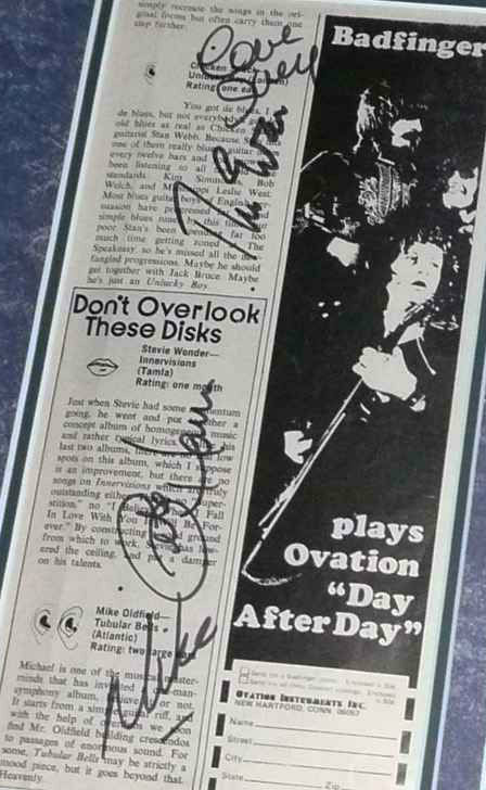 Badfinger Signed Ovation Ad
