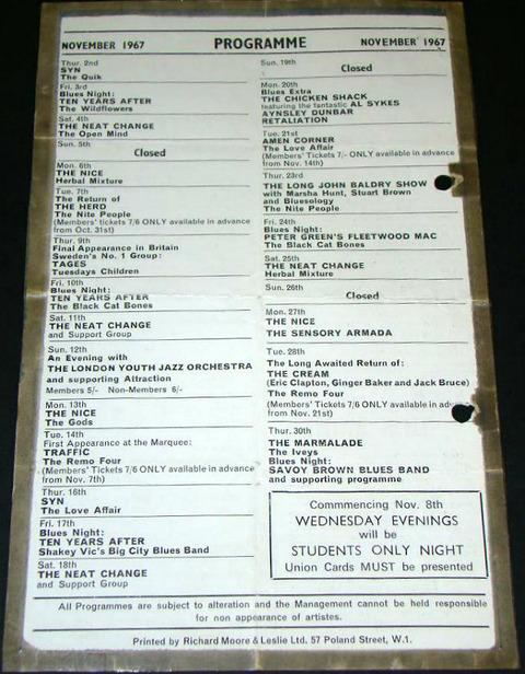Marquee Club Programme Nov 1967