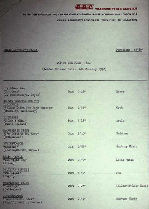 BBC 322 Transcription Disc Top of the Pops 01