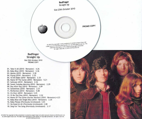 BADFINGER Straight Up 2010 UK promo test CD