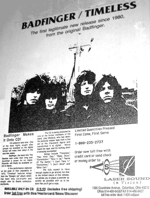 Badfinger - Timeless (March 1990) ad