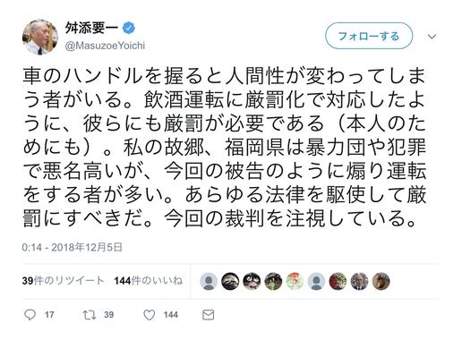 舛添要一氏「福岡県は煽り運転をする者が多い」