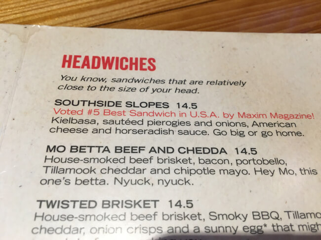 HEADWICHES Menu | Fat Head's Brewery | Portland