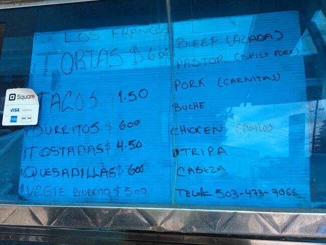 メニュー - メキシカン料理のワゴンカー