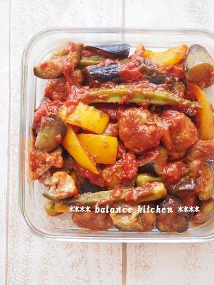 豚こま団子と夏野菜のトマト煮.5jpg