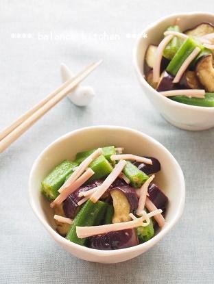 おくらとなすの中華風サラダ1