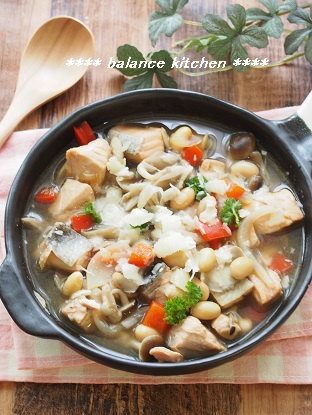鮭とたっぷりきのこの和風スープ パルミジャーノ2