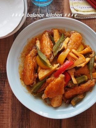 鶏手羽中と野菜のチリソース炒め2
