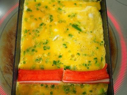 お花の卵焼き工程1
