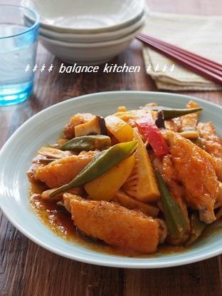 鶏手羽中と野菜のチリソース炒め1