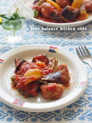 豚こま団子と夏野菜のトマト煮.2jpg