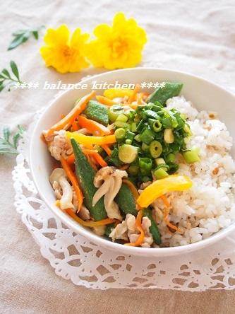 豚肉とたっぷり野菜のネギだれご飯2