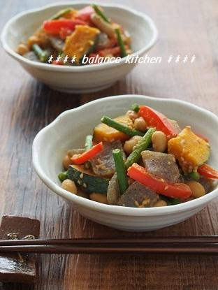 こんにゃく入り 大豆と彩り野菜のごまみそ炒め1