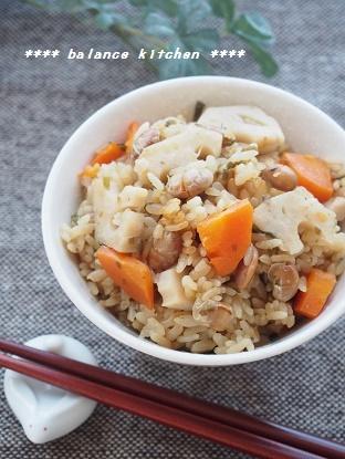 節分豆と根菜の塩昆布炊き込みごはん3