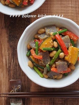 こんにゃく入り 大豆と彩り野菜のごまみそ炒め2