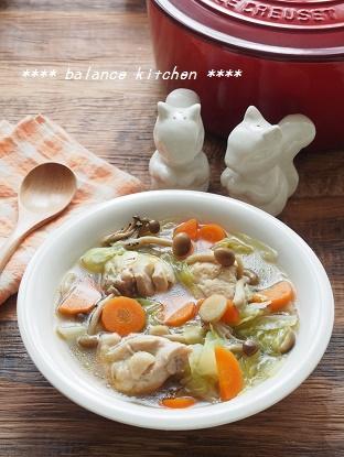 鶏肉とキャベツのしょうが風味スープ