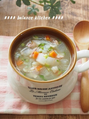 根菜とベーコンのぽかぽかスープ2