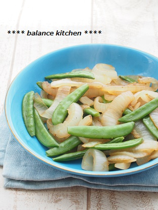 新玉ねぎとスナップえんどうの塩蒸し炒め1