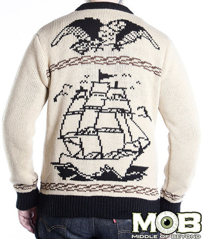 NAUTICAL TATTOO CARDIGAN BACK