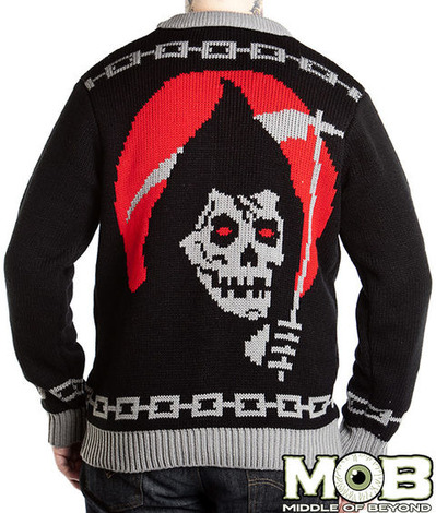 GRIM REAPER SKULL HOUR GLASS CARDIGAN BACK