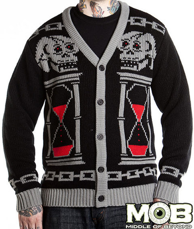 GRIM REAPER SKULL HOUR GLASS CARDIGAN