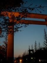 夕闇の靖国神社鳥居
