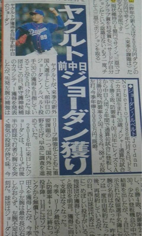 【悲報】中日ジョーダン退団