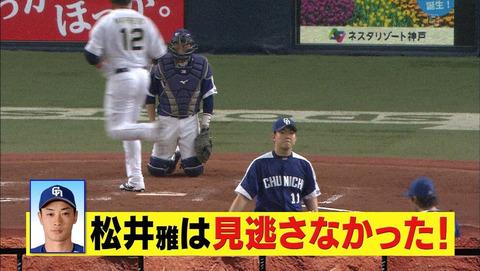 中日・笠原「四球だと思ったがみんな動かなかった」 松井雅「分かってたけど何もなかったので」