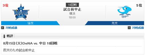 【実況・雑談用】 8/15 中日 vs DeNA(横浜)18:00開始