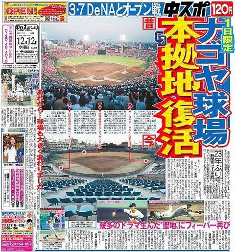 【中日】ナゴヤ球場が本拠地として復活