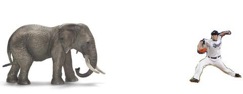 山本昌が象に全力投球しようとしている画像作ったんやけど