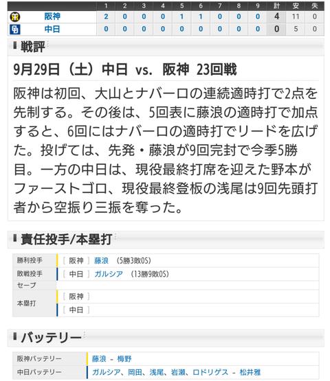 【試合結果】 9/29 中日 0-4 阪神 試合は完敗も浅尾岩瀬リレーで感動。。