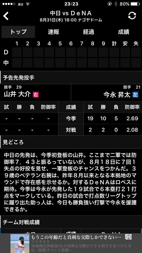 【悲報】中日今日勝てなければ横浜との3連戦勝ち越しなし