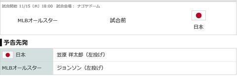 【実況・雑談用】 11/15 侍ジャパン vs MLBオールスター(ナゴヤドーム)18:00開始