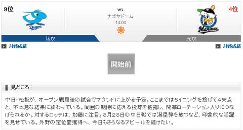 【実況・雑談】 3/25 オープン戦 中日 vs ロッテ(ナゴヤドーム)14:00開始