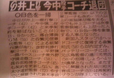 中日井上、今中コーチ退団、達川招聘濃厚www