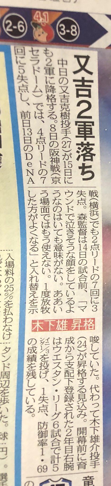 【悲報】中日又吉2軍落ち