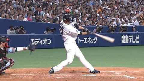 中日堂上直倫さん、中島の打撃フォームを真似ていた