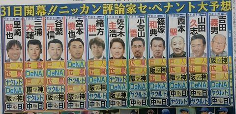 里崎智也氏のセ順位予想 広島、DeNA、阪神、巨人、ヤクルト、中日