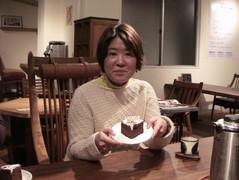 上田さんケーキと一緒にこっ。
