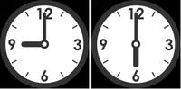 時計9時6時