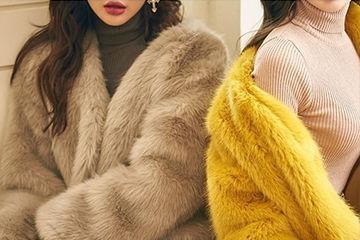 POPな印象になる黄色のファーコート