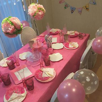 ピンクのテーブルコーディネートがかわいい♡