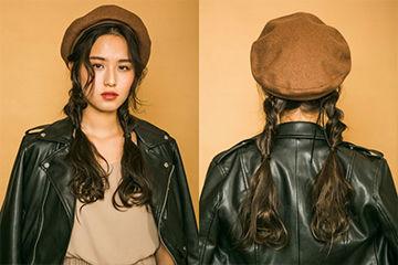キャメルのベレー帽が今年っぽくて可愛い