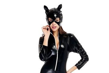 セクシーなタイトレザー猫コスプレ